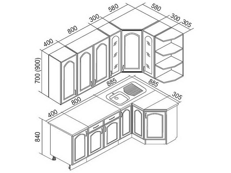 Угловая мебель для кухни и схемы